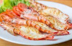 Grilled shrimp on plate. Grilled shrimp decorate on plate Stock Images