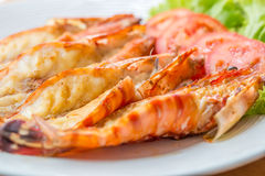 Grilled shrimp on plate. Grilled shrimp Decorate on plate Royalty Free Stock Image