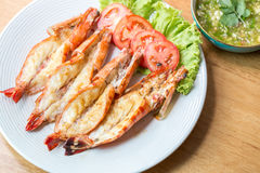 Grilled shrimp on plate. Grilled shrimp decorate on plate Stock Photography