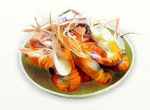 Grilled shrimp or Prawn BBQ Stock Image