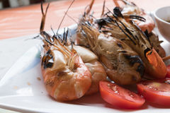 grilled shrimp prawn and spicy sauce Stock Photo