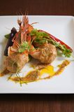 Grilled Shrimp Red Curry Sauce Royalty Free Stock Photography
