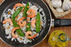 Grilled shrimp with rice and vegetable Royalty Free Stock Photography