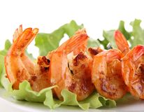 Grilled shrimp and salad Royalty Free Stock Photography