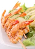 Grilled shrimp and salad Royalty Free Stock Photos