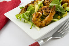 Grilled Shrimp salad Avocado. Appetizer Royalty Free Stock Image