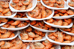 Grilled shrimp seafood in seafood market Stock Photo