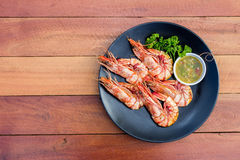 Grilled shrimp with seafood spicy sauce Royalty Free Stock Images