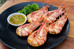 Grilled shrimp with seafood spicy sauce Stock Photography