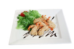 Grilled shrimp with sesame seeds Royalty Free Stock Image