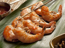 Grilled shrimp on skewers Stock Photography