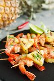 Prawns skewers with pineapple Royalty Free Stock Photos