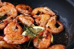 Grilled shrimp skewers. Seafood, shelfish. Shrimps Prawns skewer Royalty Free Stock Photography