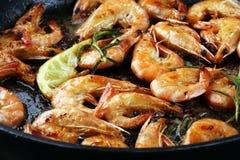 Grilled shrimp skewers. Seafood, shelfish. Shrimps Prawns skewer Stock Photos