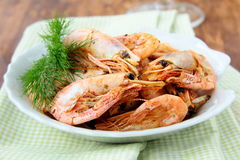 Grilled shrimp with spices and dill Stock Photo