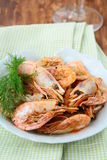 Grilled shrimp with spices and dill Royalty Free Stock Photo