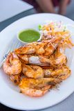 Grilled Shrimp With Spicy Sauce royalty free stock images