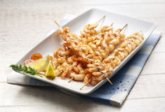 Grilled Shrimp Spits Stock Photography