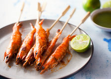 Grilled shrimp stick Royalty Free Stock Images