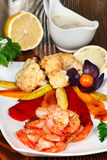 Grilled Shrimp and Vegetables Stock Images