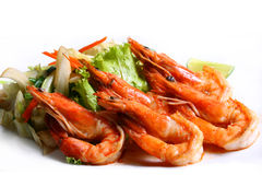 Grilled Shrimp. With vegetables Japanese foods style Stock Photos