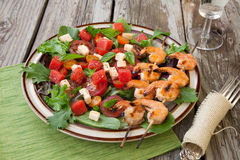 Grilled Shrimp and Watermelon Salad Royalty Free Stock Photos