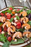 Grilled Shrimp and Watermelon Salad Royalty Free Stock Photography