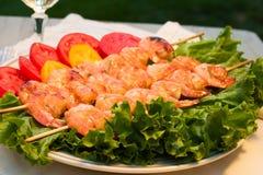 Grilled shrimps Stock Images