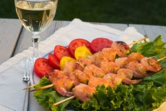 Grilled Shrimps And White Wine Stock Image