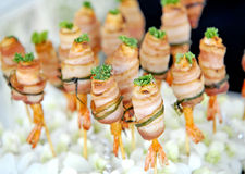 Grilled shrimps with bacon Royalty Free Stock Photo