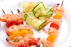 Grilled shrimps and cucumber s Stock Photo