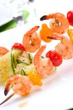 Grilled shrimps and cucumber salad Stock Image