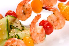 Grilled shrimps and cucumber salad Royalty Free Stock Photo