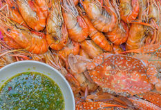 Grilled shrimps on dish with seafood sauce Royalty Free Stock Photo