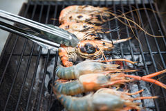 Grilled shrimps on the flaming grill, barbecue seafood Stock Images