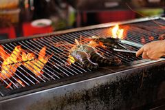Grilled shrimps on the flaming grill Royalty Free Stock Photo