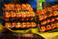 Grilled shrimps on the flaming grill Royalty Free Stock Images