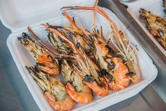 Grilled shrimps on foam box for lunch Stock Photo