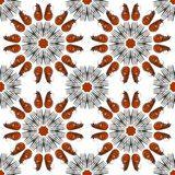 Shrimps and forks round frames seamless photo pattern royalty free stock image