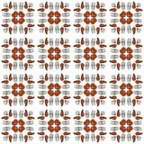 Grilled shrimps and forks tiled squares seamless photo pattern stock photography