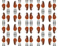Grilled shrimps and forks fragments repeat tile border pattern stock photography