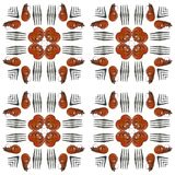 Grilled shrimps and forks square tiled seamless photo pattern stock photos