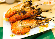Grilled shrimps on plate. Royalty Free Stock Photography