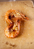 Grilled shrimps prawns  with salt flakes Royalty Free Stock Photography