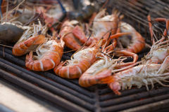 Grilled shrimps seafood by fire and BBQ Flames Stock Photos