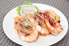 Grilled shrimps with seafood sauce Stock Photo