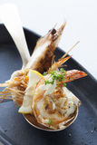 Grilled shrimps serve in spoon Stock Photo