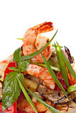 Grilled shrimps served with grilled vegetable and spring onions. Royalty Free Stock Images