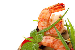 Grilled shrimps served with grilled vegetable and spring onions. Stock Photo