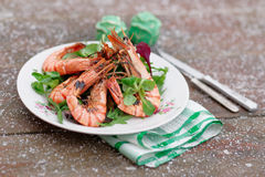 Grilled Shrimps Served Outdoor In Winter Stock Image